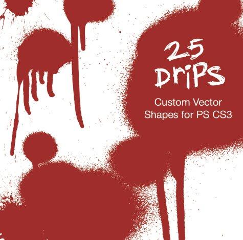 無料のPhotoShopのカスタムシェイプシリーズ1(血のカスタムシェイプ25種類)