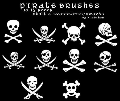 フリーで海賊のドクロ旗に描かれているようなガイコツのブラシ