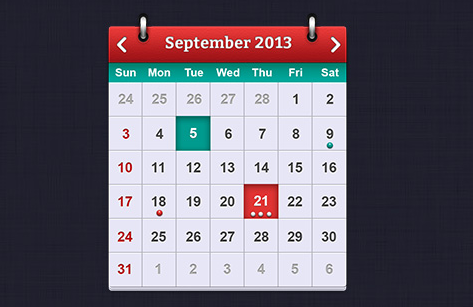 iOS向けのカレンダーのPSDファイル[フリー]